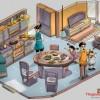 """Bộ tranh sáng tạo """"Bữa cơm nhà qua các thời kỳ"""" của dầu ăn Tường An kỷ niệm 40 năm thành lập"""